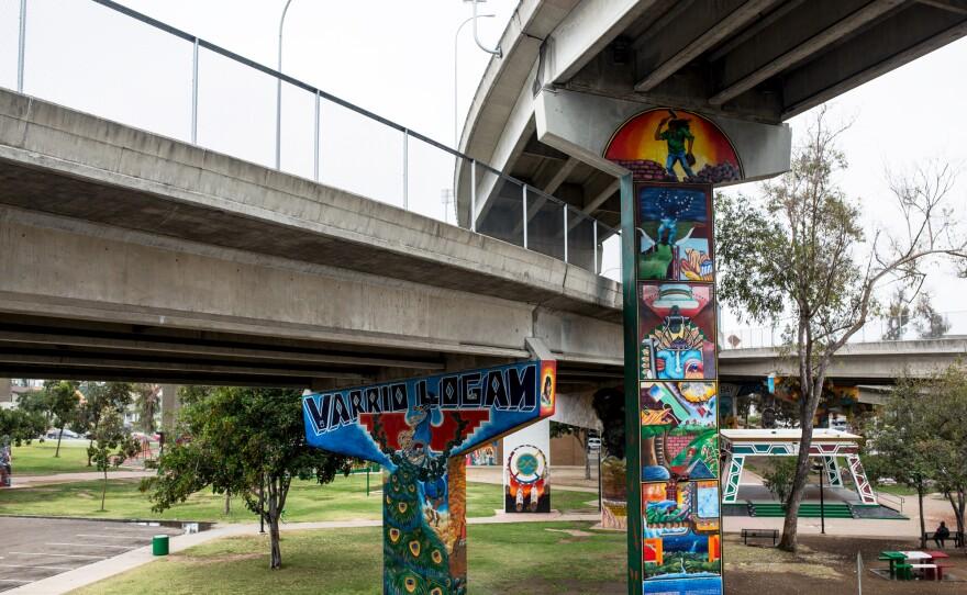 Chicano Park in Barrio Logan is shown beneath the San Diego-Coronado Bridge on July 9, 2018.