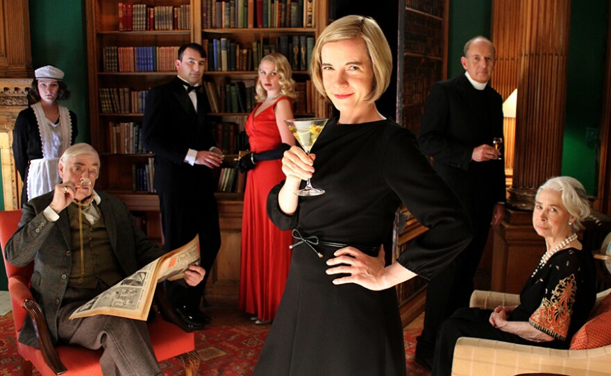 Lucy Worsley at Murder Mystery party in A VERY BRITISH MURDER.