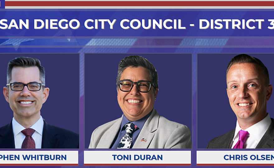 San Diego City Council District 3 candidates Stephen Whitburn, Toni Duran and Chris Olsen are picture in this results graphic, March, 4, 2020.