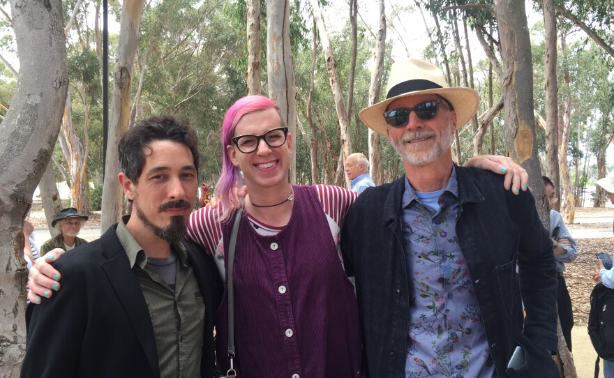 Key members of the creative team behind The Wind Garden: Jason Ponce, Jem Altieri, and Pulitzer Prize-winning composer John Luther Adams at the installation opening. Aug. 7, 2017.