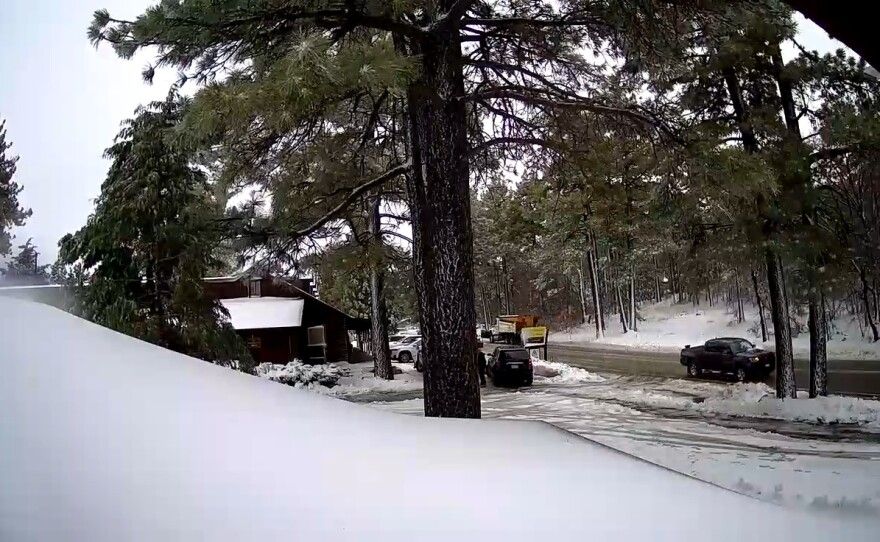 Snow falling at Laguna Mountain Lodge on Mount Laguna on Dec. 28. 2020