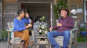 Host Su-Mei Yu with Jim Hart, owner of Volcan Mountain Winery, located at 1255 Julian Orchards Drive, Julian, Calif.