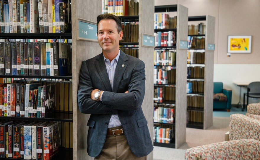 City Councilman Mark Kersey is photographed at the Rancho Peñasquitos Library, Aug. 14, 2019. Upcoming projects at the library will be funded using money allocated from the Rebuild San Diego ballot measure.