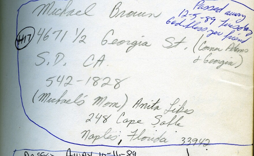 A page from a notebook found at Auntie Helen's shows clients with AIDS who were helped by activist Gary Cheatham is shown in this undated photo.