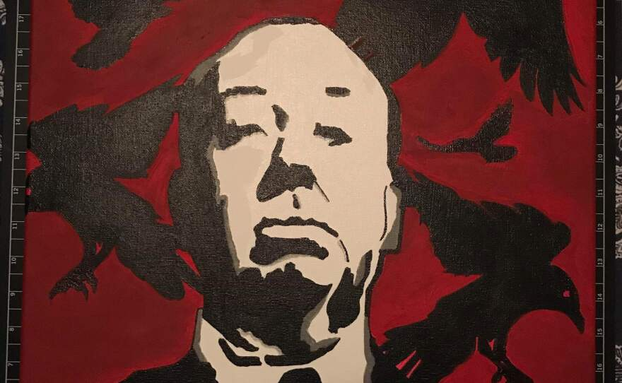 Deandre Cherry pays tribute to the Master of Suspense Alfred Hitchcock in her painting that will be on display as part of Thumbprint Gallery's Hitchcock Group Art Show.