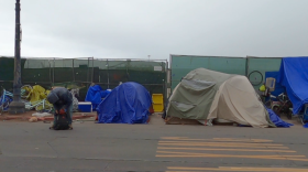Homeless tents are shown lined up downtown Diego, April 26, 2021.