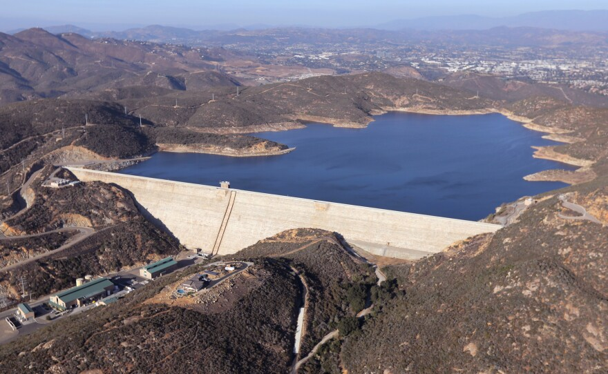 The Olivenhain Dam in San Diego County, shown in an undated photograph, is part of a network of water storage that can store 90,000 acre feet of water.