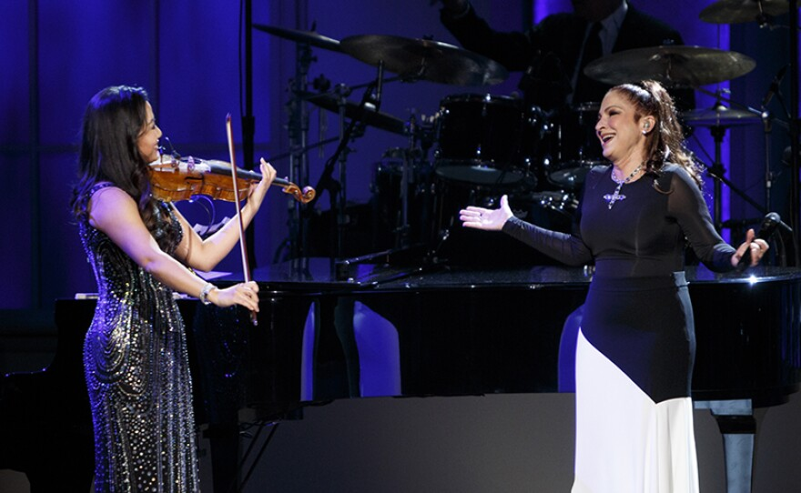 """Sarah Chang and Gloria Estefan perform at """"Emilio & Gloria Estefan: The Library of Congress Gershwin Prize for Popular Song,"""" March 13, 2019, DAR Constitution Hall in Washington, D.C. The program premieres May 3, 2019 on PBS."""