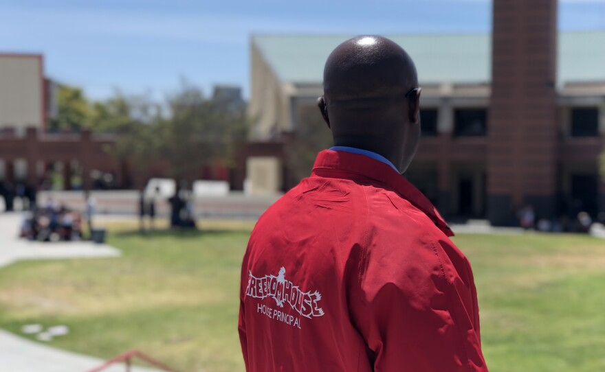 Anthony Morrow, a principal at Fallbrook High School, looks out over the bowl — what the school calls its quad — April 23, 2018.