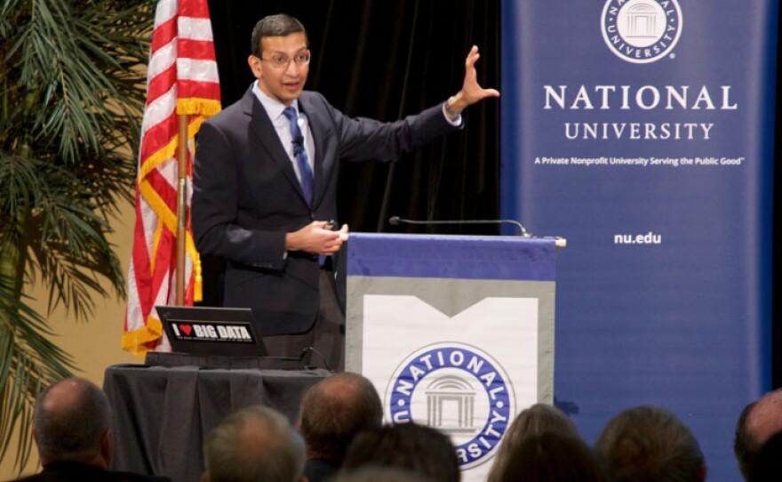 Stanford University Economics Professor Raj Chetty discusses upward mobility at a talk in San Diego, Feb. 27, 2018.