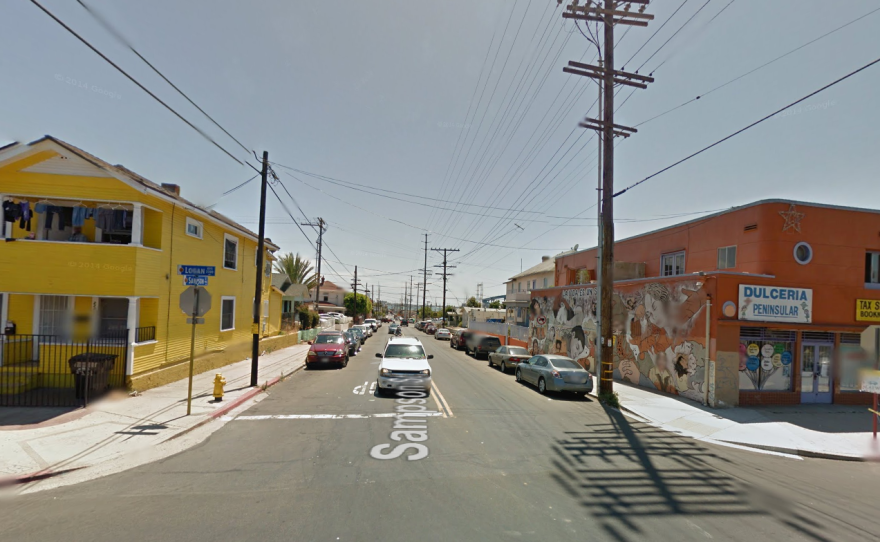 The corner of Sampson Street and Logan Avenue in Barrio Logan.