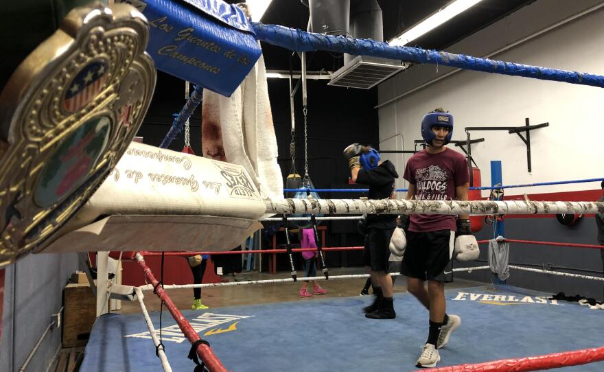Alex Guillen steps into the ring while sparring in Calexico, California on December 5th, 2019
