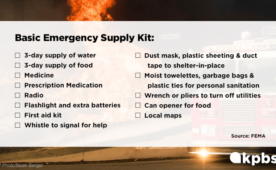 The FEMA emergency supply kit checklist is pictured in this undated graphic image.