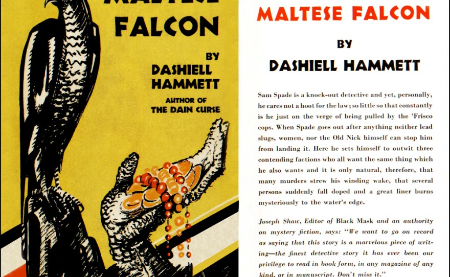 """Dust jacket for the 1930 first edition of Dashiell Hammett's """"The Maltese Falcon."""""""