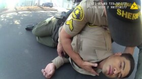 Sheriff's deputy trainee David Faiivae being helped after a suspected Fentanyl overdose, July 3, 2021.