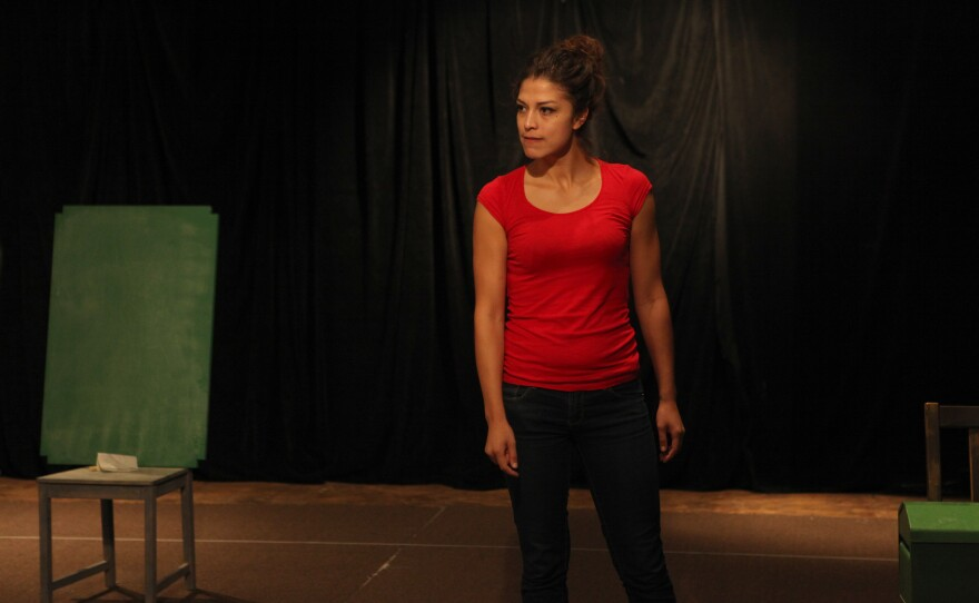 """Actor Iliana Carter rehearses for the one-woman show """"The Amish Project."""""""