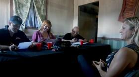Jennifer Stuever interviewing Autumn Maize at the Scream Zone.