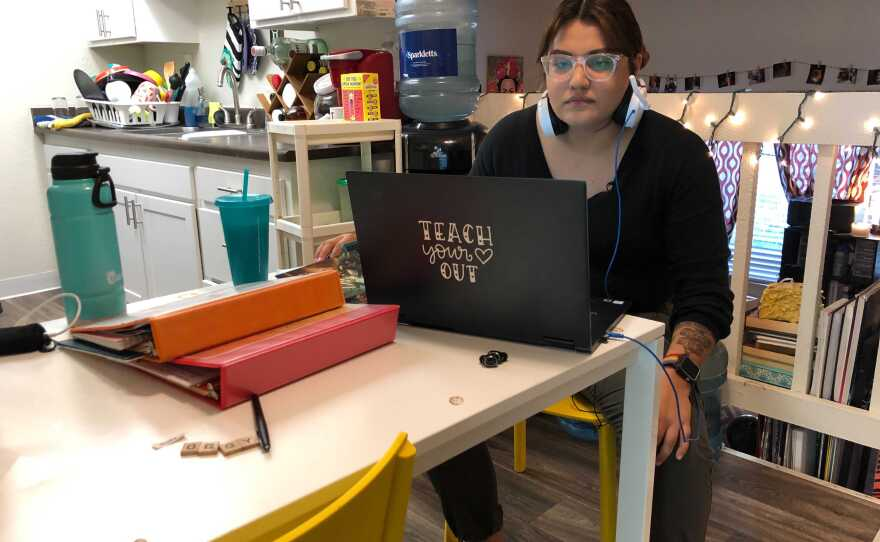 Leticia Avelar prepares to teach her virtual class from her home in El Cajon. Sept. 18, 2020