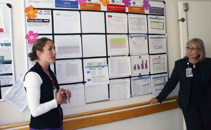 Scripps Memorial's Laura Peck, clinical coach, and Ingrid Hassani, patient care manager explain to their team how practices affect Medicare's five-star rating, Aug. 3, 2016.