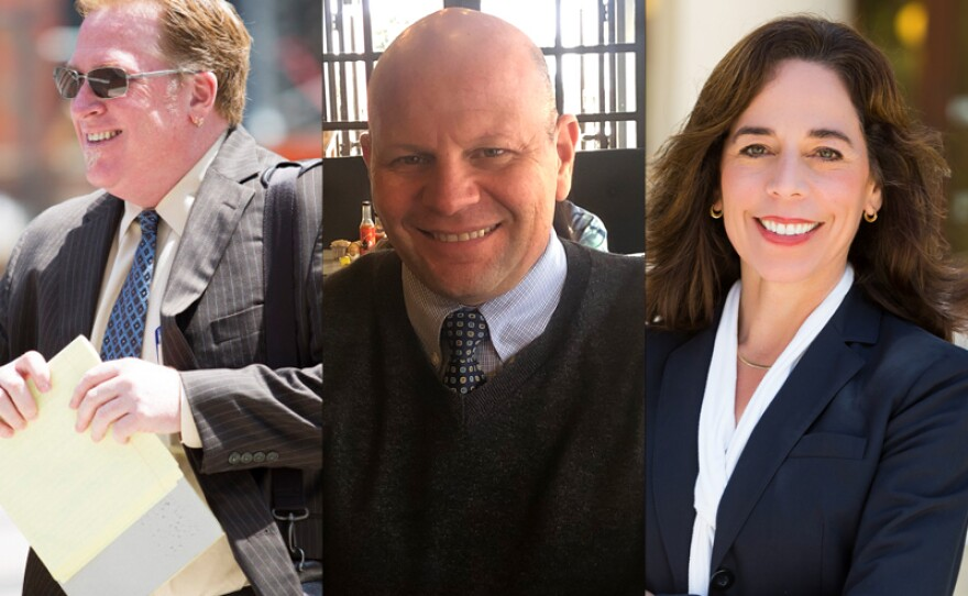 San Diego City Attorney candidates Cory Briggs, Peter Mesich and Mara Elliott are pictured in this undated photo.