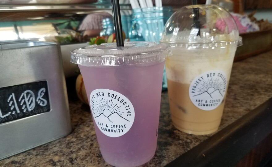 A lavendar lemonade and a Mexican mocha at the coffee shop Project Reo Collective, Sept. 30, 2018.