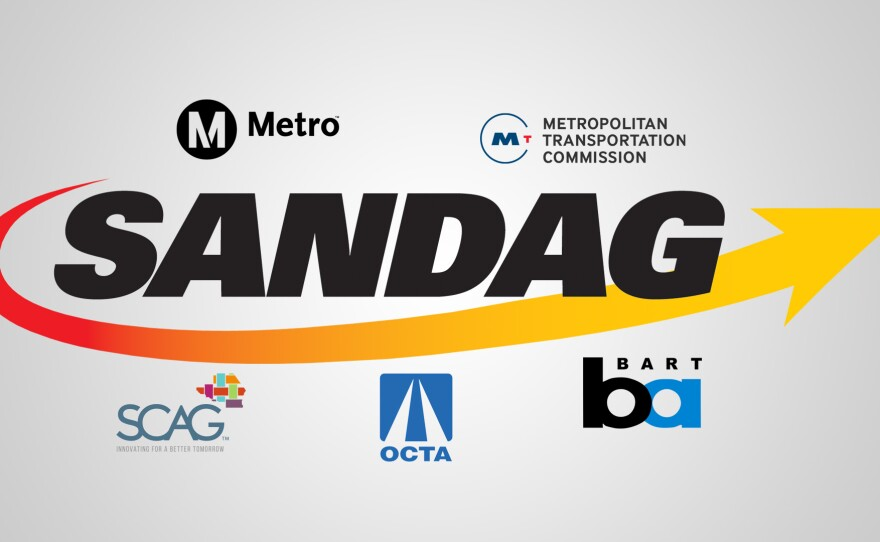 The SANDAG logo is seen surrounded by the logos of other transportation planning organizations in California.