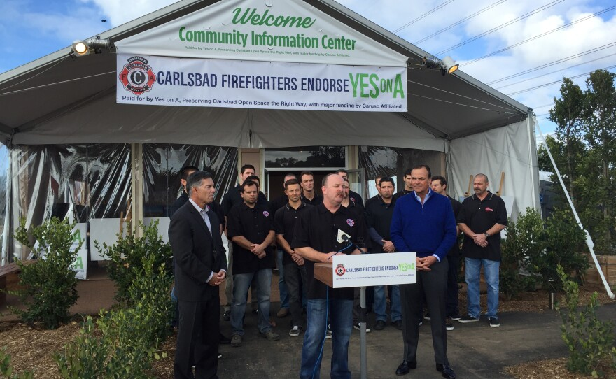 Carlsbad firefighters endorse Measure A, Jan. 13, 2016.