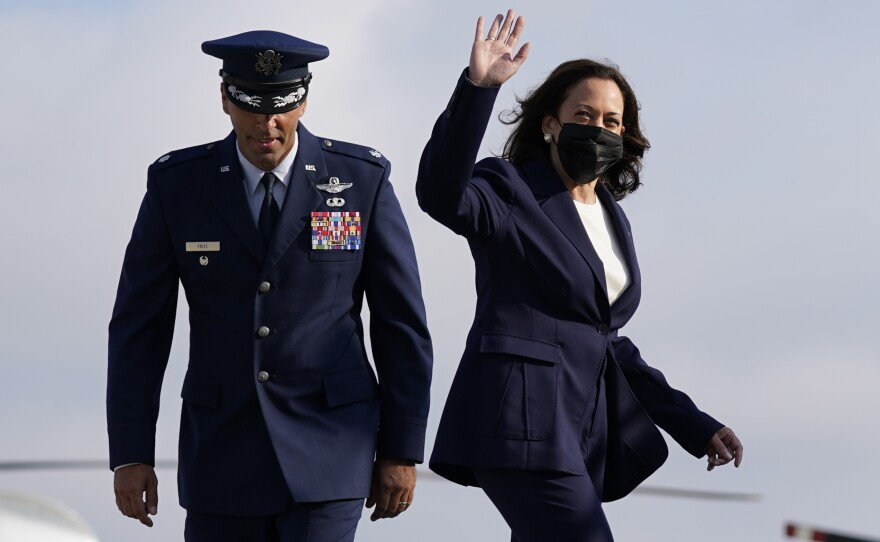 Vice President Kamala Harris arrives to board a plane at Andrews Air Force Base, Md.,Wednesday, Sept. 8, 2021, en route to California's Bay Area to campaign for California Gov. Gavin Newsom, who faces removal from office in a Sept. 14 recall election.
