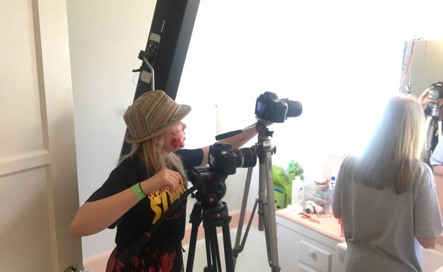 """Director Ella McKeon on the set of her film """"Butterfly"""" that is playing as part of Horrible Imaginings Film Festival's Youth Cinema Showcase."""
