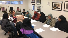 Workers preparing for a phone bank campaign to spread awareness about the U.S. Census to immigrants.