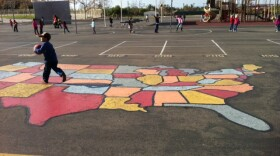 A child plays in the playground of Chula Vista's Thurgood Marshall Elementary School during recess.