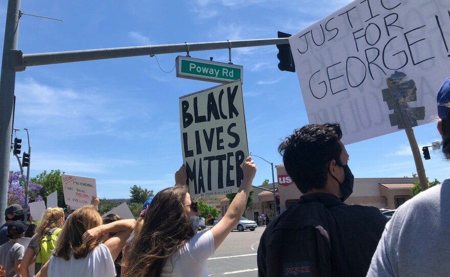 Protesters rally in Poway to denounce the death of George Floyd, May 31, 2020.