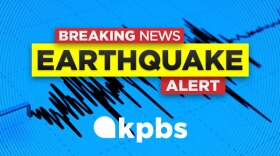 The KPBS earthquake alert graphic is pictured in this undated image.