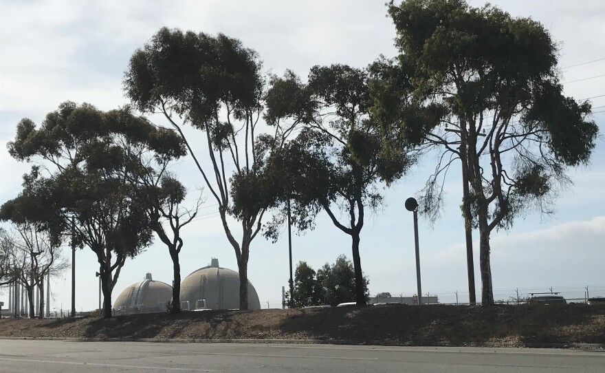 San Onofre Nuclear Generating Station's twin domes can be seen from the frontage road along Interstate 5,  Jan. 24, 2019.