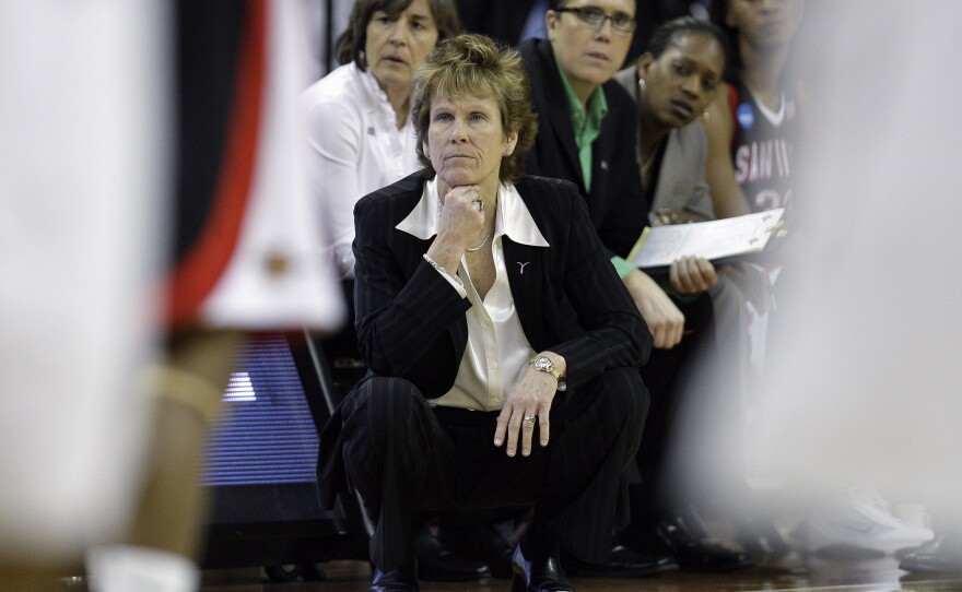 San Diego State coach Beth Burns during an NCAA first-round college basketball game against Texas, Sunday, March 21, 2010, in Austin, Texas. (AP Photo/Eric Gay)