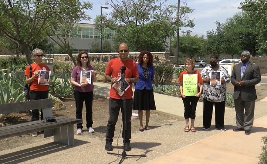 Community advocates are pictured outside of Las Colinas Detention and Reentry Facility in Santee on, June 29,2021.