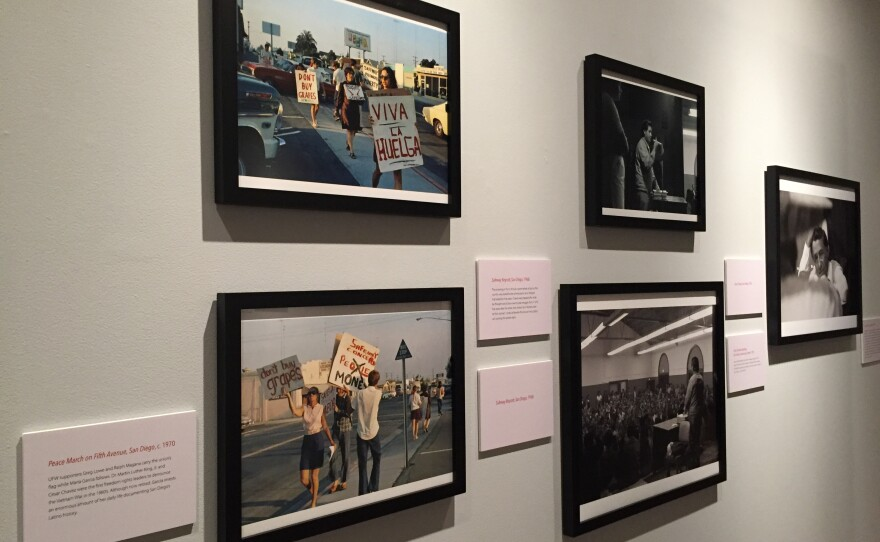 A photo exhibit at the University of San Diego commemorates the California farmworker movement, Sept. 12, 2016.