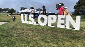 A sign commemorating the U.S. Open at Torrey Pines Golf Course. June 17, 2021.