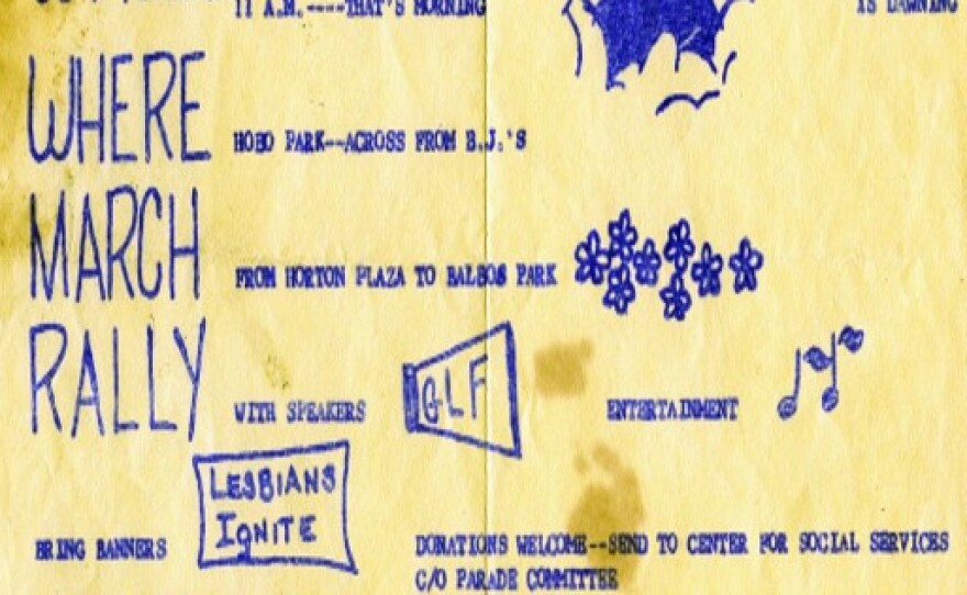 A flier from an early San Diego Pride is shown in this undated photo.