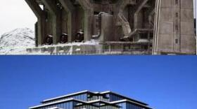 The Geisel Library as snow fortress? The connection is unconfirmed, but pretty convincing.