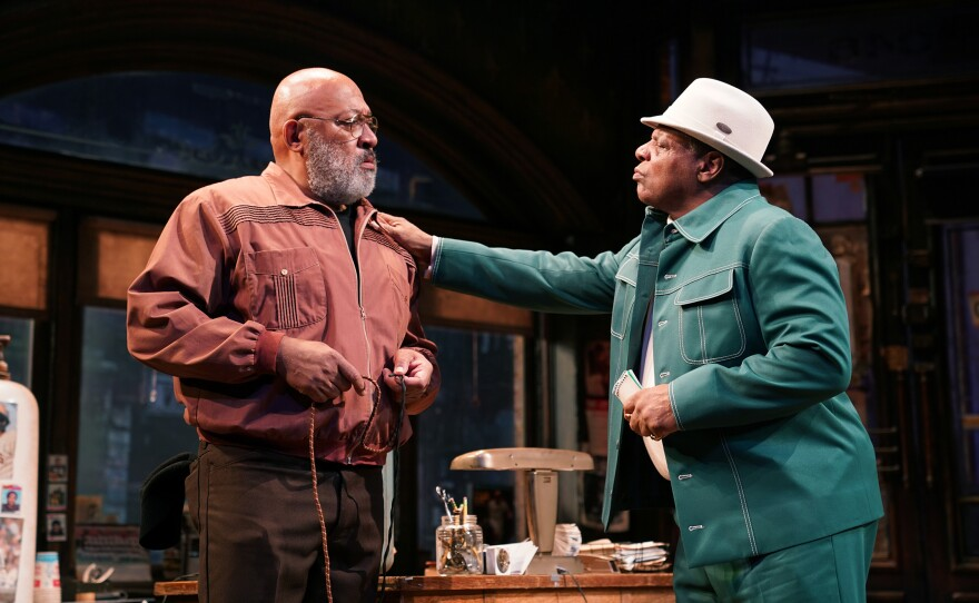 """Keith Randolph Smith as Doub and Harvy Blanks as Shealy in August Wilson's """"Jitney,"""" directed by Ruben Santiago-Hudson, runs through Feb. 23 at The Old Globe."""