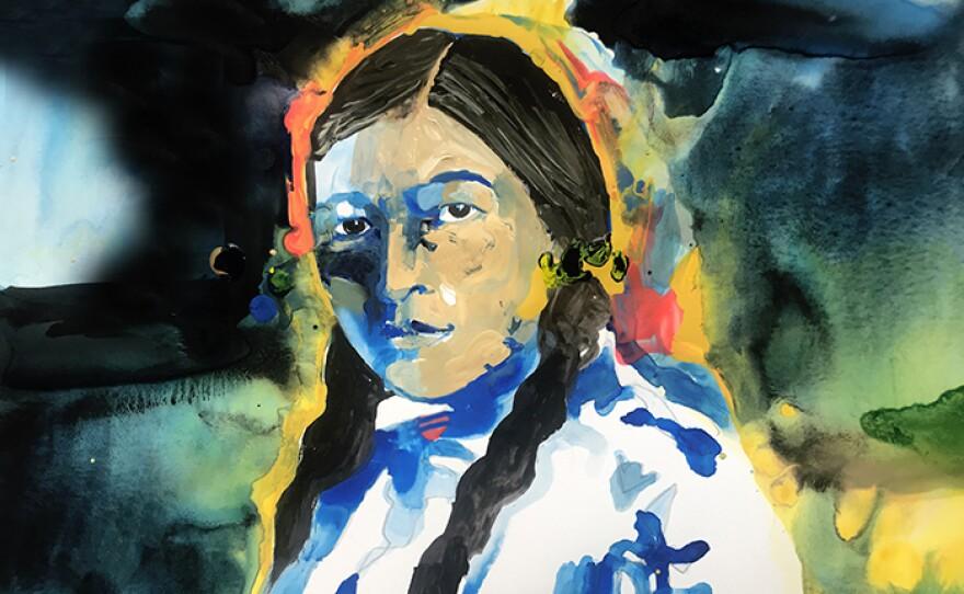 Portrait of Zitkála-Šá, aka Gertrude Simmons Bonnin, (1876–1938), American Indian Composer, Author & Civil Rights Activist