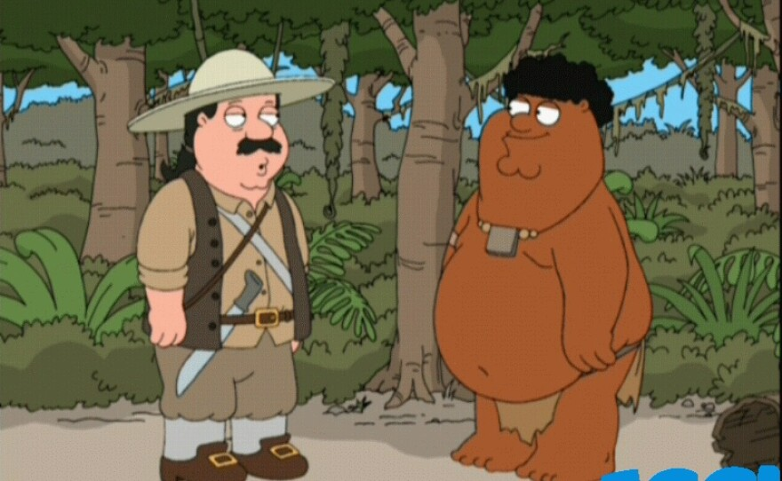 """""""Black Peter"""" and """"White Cleveland"""" from the animated sitcom """"Family Guy."""""""