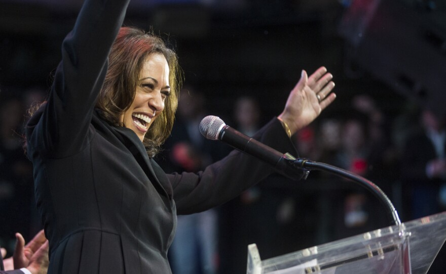 Kamala Harris greets a crowd in Los Angeles before giving a victory speech, Nov. 8, 2016. Harris won the California's U.S. Senate seat being vacated by retiring Sen. Barbara Boxer.
