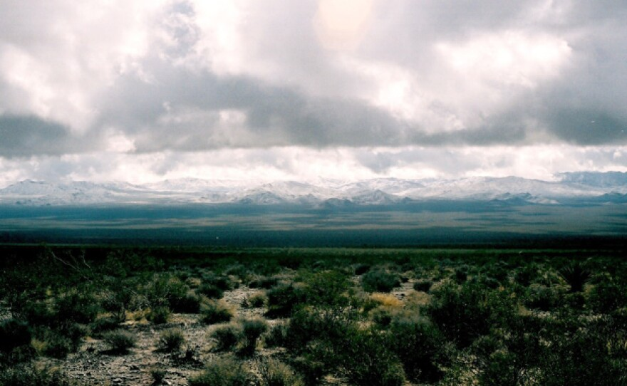 Snow on the Providence Mountains can happen a few times every winter, Mojave National Preserve, Mojave Desert of San Bernardino County, California.