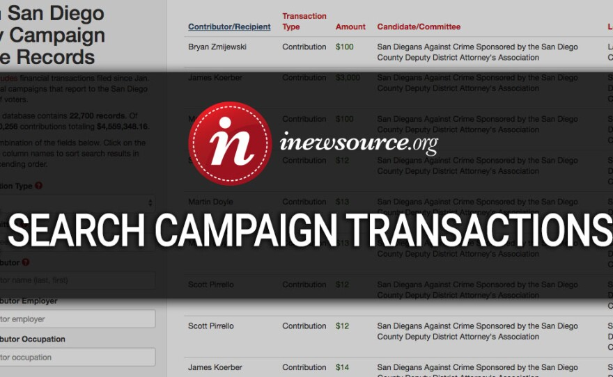 A photo illustration of the inewsource San Diego County campaign finance database launched on April 19, 2018.