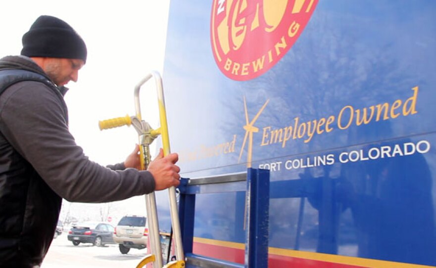 """New Belgium Brewery employee-owner Michael Miller, out for a day of deliveries, says """"I treat my job like it's my own business."""""""