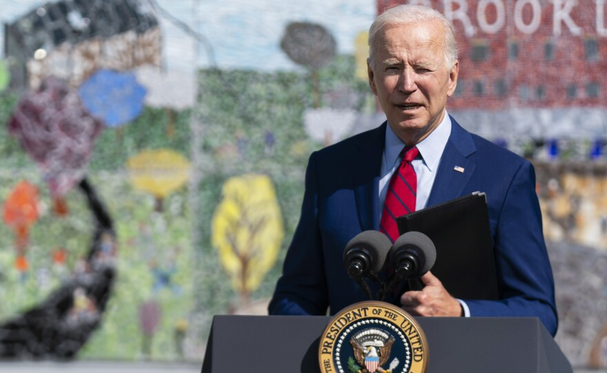President Joe Biden speaks about his strategy to combat the coronavirus pandemic at Brookland Middle School on  Friday in Washington, D.C. Later in the day, he issued a video commemorating the 20th anniversary of the Sept. 11 terrorist attacks.