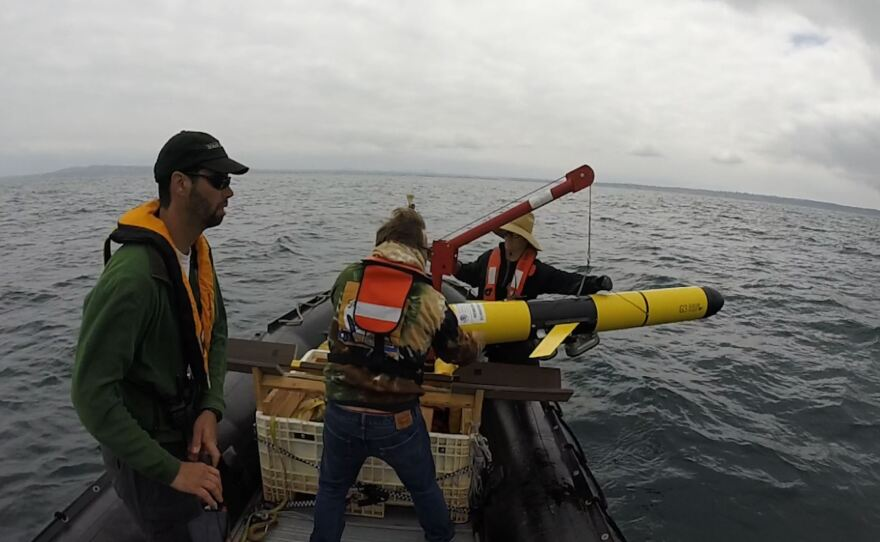 NOAA research biologists recover glider that was being tested off the coast of San Diego in late July 2018.