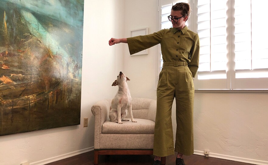 Trista Roland wears homemade coveralls from a Sugardale pattern in an undated photo.